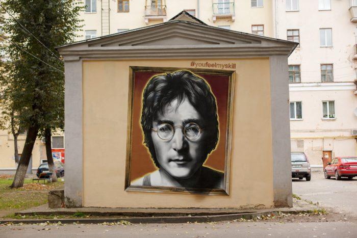 Граффити портрет Джон Леннон streetskills youfeelmyskill в Витебске