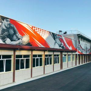 роспись стен фасадов зданий граффити на заказ в Москве Краснодаре